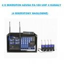 4 x Mikrofon AZUSA PA-180 UHF 4 kanały (4 mikrofony nagłowne)