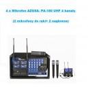 4 x Mikrofon AZUSA- PA-180 UHF 4 kanały (2 mikrofony do ręki+ 2 nagłowne)
